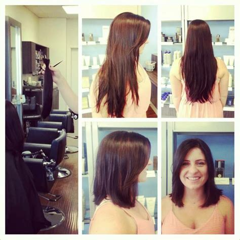 hair cut after dbs hair by shannon cather cut long to short brown