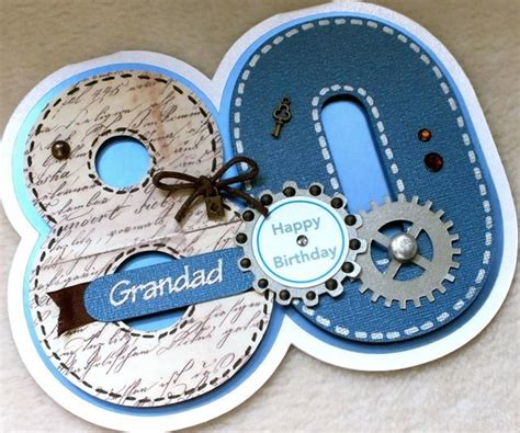 Handmade 80th Birthday Cards - special handmade grandad 80th birthday card folksy