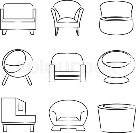 Set Of Sofas Drawings Sketch by Sofa Sketch Icons Stock Vector Colourbox