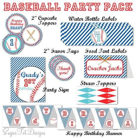 free printable baseball alphabet banner pack baseball party pack blue and red baseball party sign