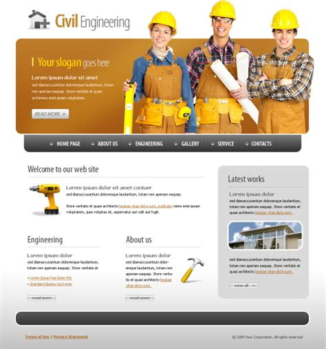 civil engineering website template 5589 construction