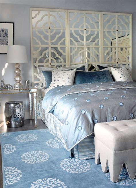 Blue And Silver Bedroom | mirror nightstand contemporary bedroom mabley handler