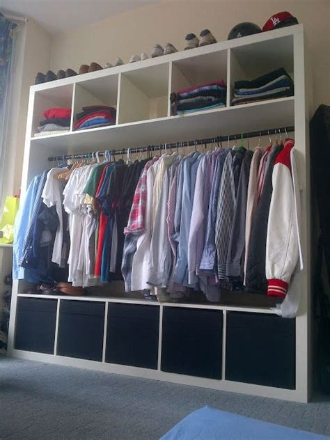 ikea hack closet kallax with clothes rod ikea hackers house pinterest