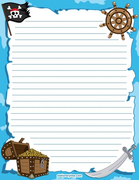 Pirate Paper Template by Printable Pirate Stationery