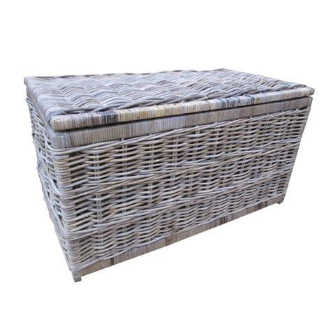 Grey & Buff Rattan Storage Trunk / Chest