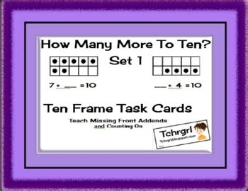 how many place settings how many more to 10 set 1 ten frames task cards missing