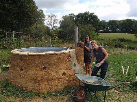wood fired bathtub cob hot tub diy faron pinterest