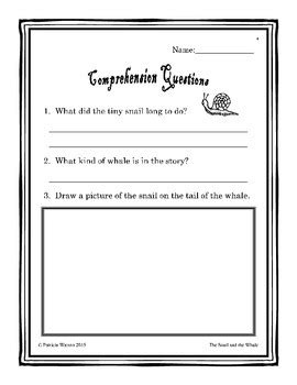 The Snail and the Whale Worksheets by Patricia Watson