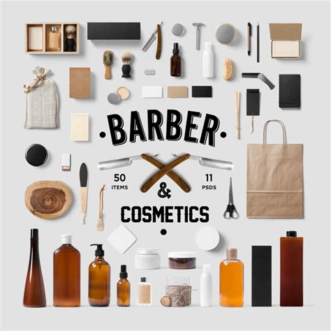 barber cosmetics mock up psd templates forgraphic