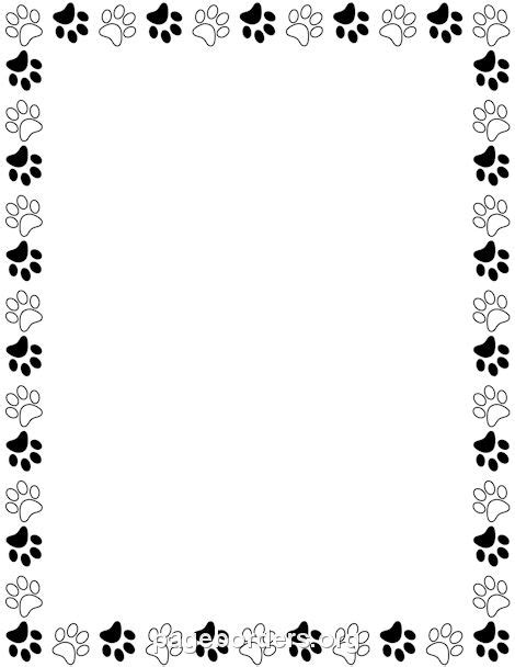 Printer Bordir printable black and white paw print border use the border