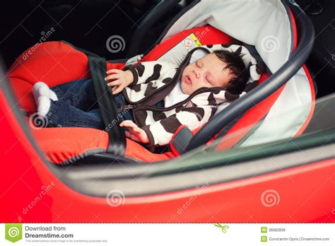 infant sleeping in car seat safe baby sleeping in car seat royalty free stock images