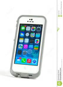 Apple iphone 5s cell phone in a lifeproof case editorial photo image