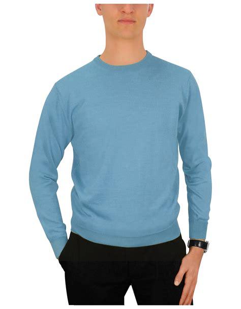 Sweater Cewek Murah Blue Sky forzieri s sky blue crewneck sweater in blue for lyst