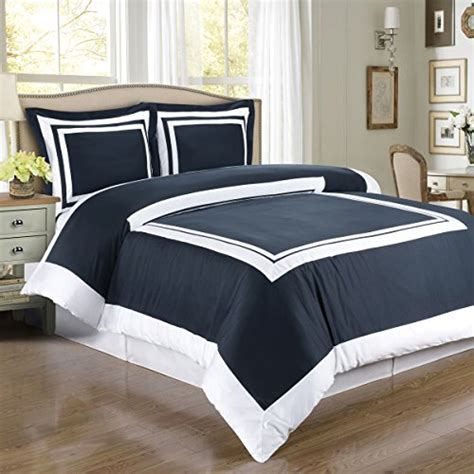 navy blue and white striped bedding hotel navy and white 3pc full queen comforter cover