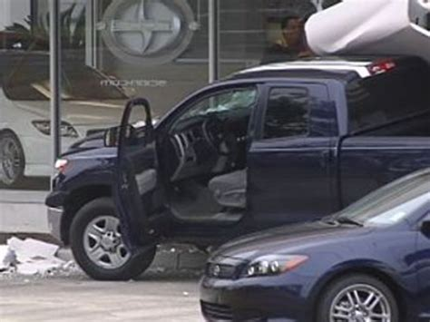 toyota showroom timings tundra owner crashes truck into dealer showroom claims