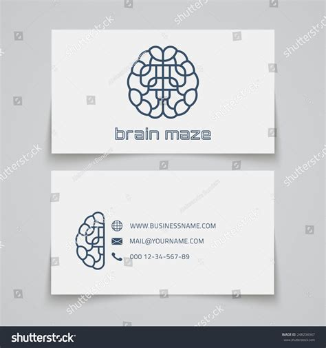 business card template with watermark business card template brain maze logo stock vector