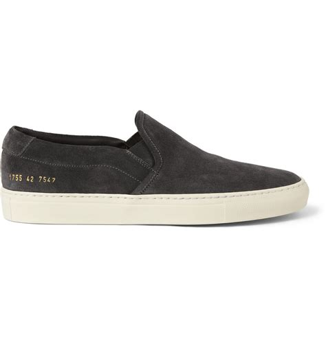 Common Projects Slip On common projects suede slip on sneakers in black for lyst