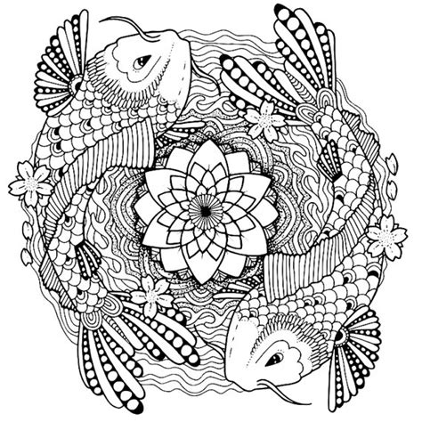 mandala koi tattoo koi coloring page for adults tattoo adult coloring page