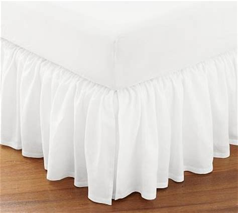 pottery barn bed skirts flounced linen bed skirt twin white traditional