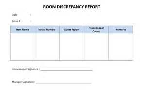 Discrepancy Report Template Hotel Room Discrepancy Report Freewordtemplates Net