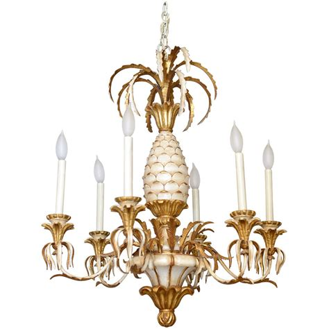 Pineapple Pendant Light Italian Carved Pineapple Six Light Chandelier At 1stdibs