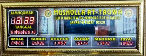 Jam Digital Masjid Musholla waktu digital adzan musholla at taqwa cempaka putih jakarta