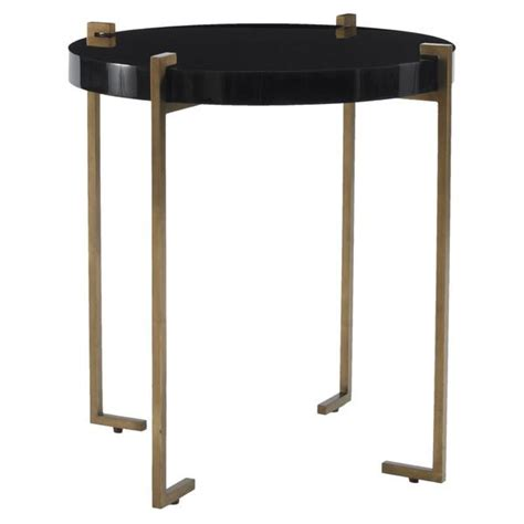 black table ls ls dimond home black and gold draper drum table in black