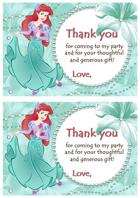 printable little mermaid thank you cards little mermaid thank you cards birthday printable