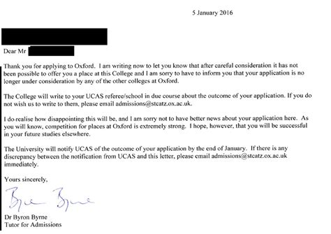 Rejection Letter Oxford sci science math