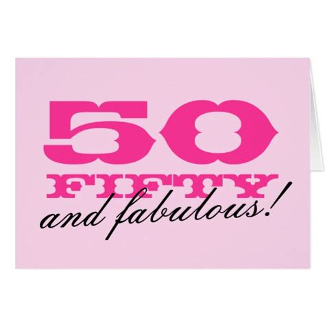 50th Birthday Cards 50th Birthday Card For Women 50 And Fabulous Zazzle