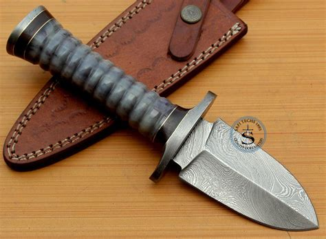 Handmade Knife Handles - custom handmade damascus dagger camel bone handle