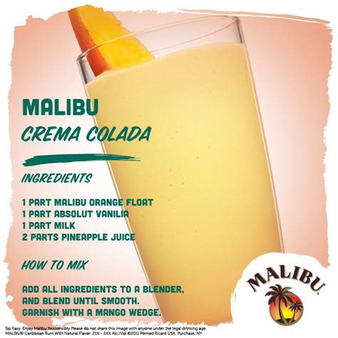 cocktails with malibu and vodka malibu orange float and absolut vodka make this fruity
