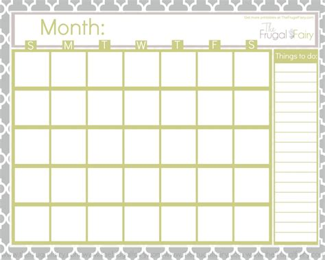 5 best images of printable full page blank calendar