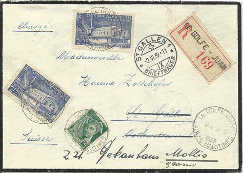 Brief Frankieren Schweiz Frankreich Frankreich 1939 3 Marken Auf Einschreiben Brief V Le Golfe Juan I D Schweiz Marktplatz