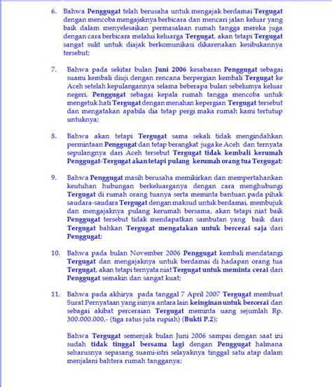 contoh surat gugatan cerai di pengadilan agama wisata
