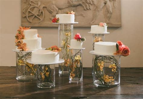 use clear glass cylinder vases instead of a cake stand