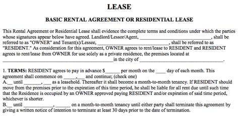Basic Rental Agreement In A Word Document For Free Basic Lease Agreement Template