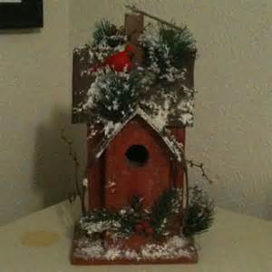 cardinal bird home decor christmas decor rustic snowy wooden bird house red