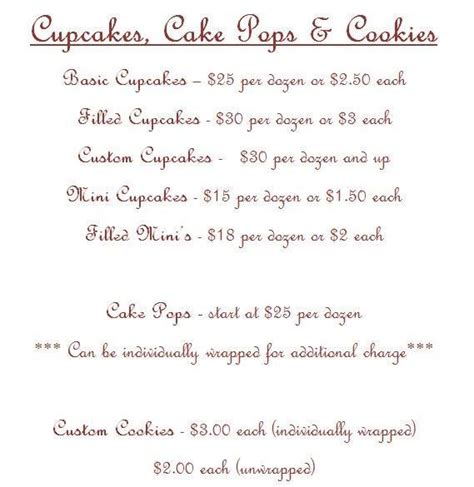 in color cookies in color price list 37 best images about cake pricing on pinterest cake
