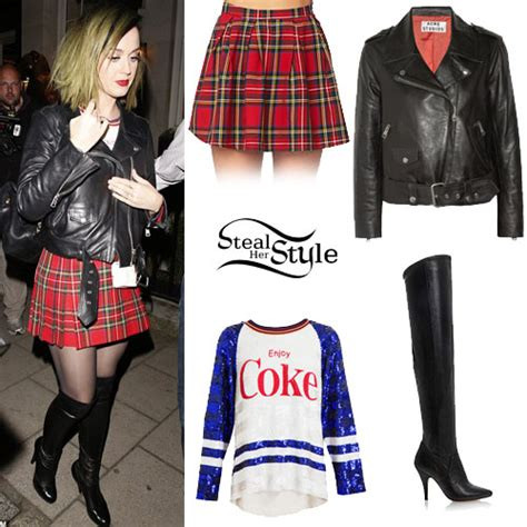 katy perry leather jacket plaid skirt style