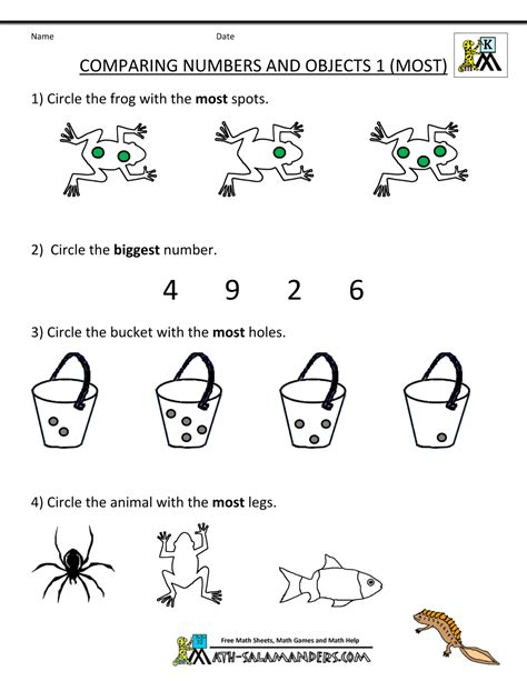 free printable kindergarten numbers kindergarten math worksheets comparing numbers and size
