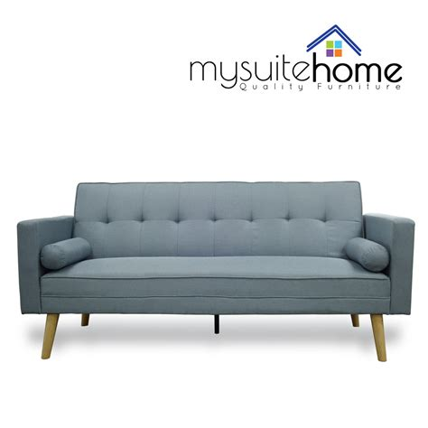 fold down sofa amy brand new blue or grey fabric click clack sofa bed