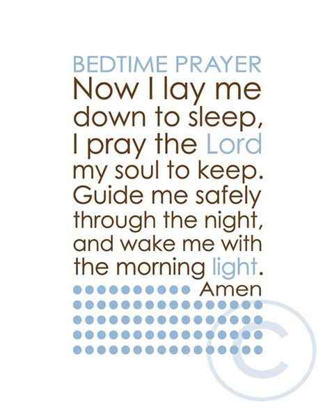 catholic prayer before bed bedtime prayer in light blue and brown by enduringarts on