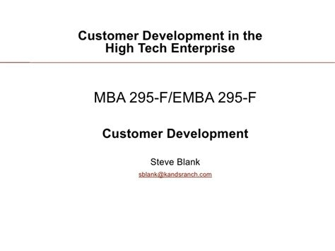 High Tech Mba by Customer Development 3 Introduction