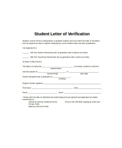 College Enrollment Verification Letter Template sle student letter