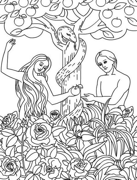 adam  eve disobey god command coloring pagejpg