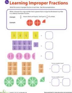 introduction to improper fractions 1 worksheet