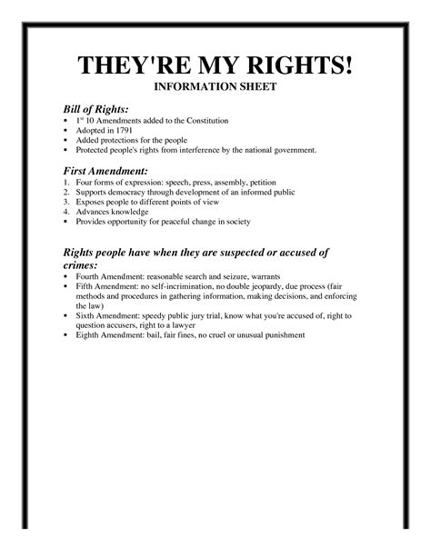 I Rights Worksheet 17 best images of bill of rights worksheet