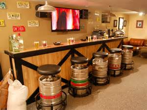 No man cave would be complete without a bar use statement pieces to