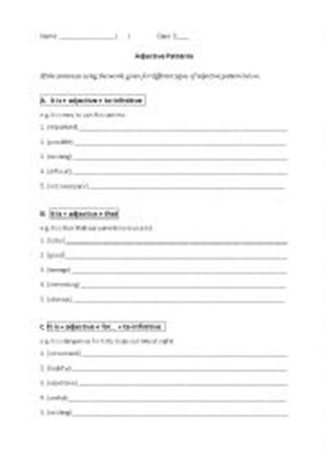 sentence pattern with adjectives english worksheets adjective patterns